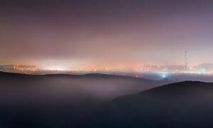 夜幕下的城市風光全景攝影高清圖片