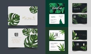 龟背竹等绿叶装饰名片设计矢量素材