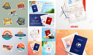 标签与网页焦点图旅行主题矢量素材