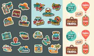 复古怀旧风格旅游标签贴纸矢量素材