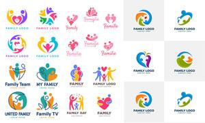 幸福家庭人物元素标志创意矢量素材