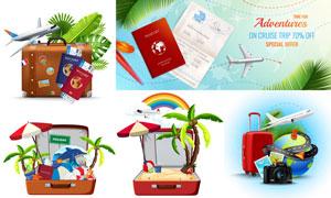 飞机行李箱护照等旅行主题矢量素材