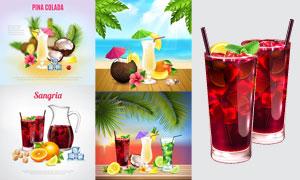 水果边框与鸡尾酒广告设计矢量素材