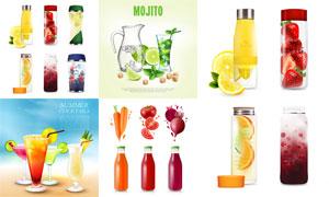 蔬菜水果汁与夏日鸡尾酒等矢量素材