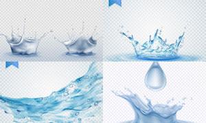 水滴与激起的水花元素主题矢量素材