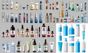 多種護膚品樣機與包裝設計矢量素材