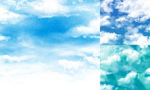 水彩效果蓝天白云风光主题矢量素材