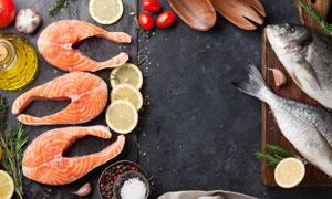 柠檬香料与三文鱼食材主题高清图片