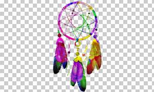 五彩斑斓的捕梦网透明背景图片素材