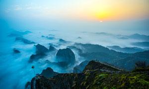 桂林八角寨主峰日出美景摄影图片