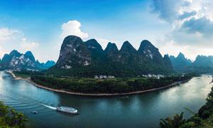 桂林漓江山水全景摄影图片