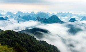 山顶壮观的云海美景高清摄影图片