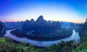 傍晚美丽的桂林漓江山水摄影图片