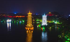 桂林日月双塔美丽夜景摄影图片