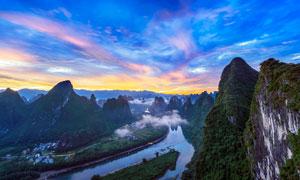 傍晚桂林漓江湾美景摄影图片