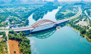 磨盘山大桥漓江风景区摄影图片