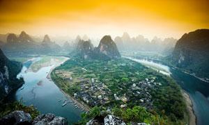 傍晚桂林山水美景摄影图片
