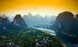 傍晚桂林漓江山水美景摄影图片