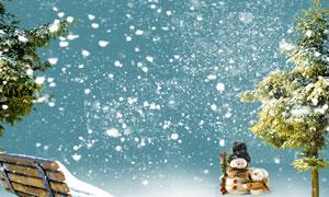 寒冷冬天飘落的雪花装饰用分层素材