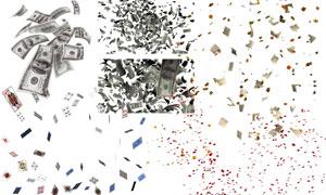 飘在空中的钞票与扑克牌等分层素材