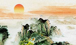 红日下的山水国画设计高清图片