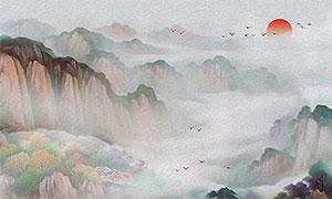 中國風山水風景畫中堂裝飾畫設計圖片
