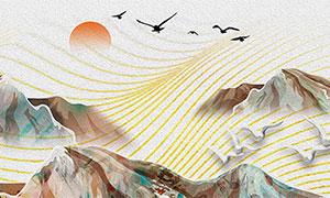 中式山水國畫客廳裝飾畫設計高清圖片