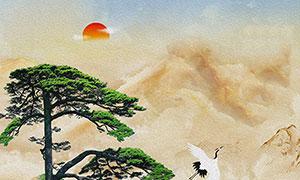 紅日下的山水國畫裝飾畫設計高清圖片