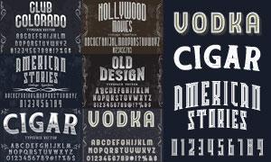黑白复古怀旧风格字体设计矢量素材