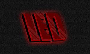 紅色立體透視效果文字模板分層素材
