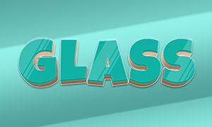 玻璃材質覆蓋效果立體字模板源文件