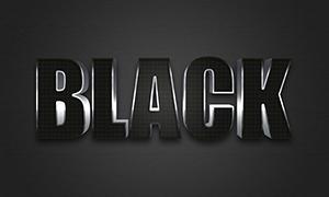 銀色光澤的黑色立體字設計模板素材
