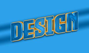 條紋圖案裝飾的立體字模板設計素材