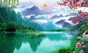 山水风景装饰画背景设计PSD分层素材
