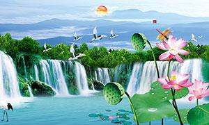 山水瀑布装饰画背景设计PSD素材