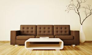茶幾與棕色的沙發家具攝影高清圖片