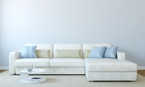 客廳抱枕與淺色的沙發攝影高清圖片
