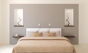 卧室干枝饰品与双人床摄影高清图片