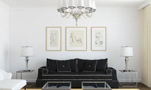客厅吊灯沙发与装饰画摄影高清图片