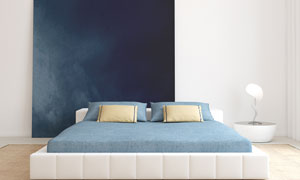 卧室里的双人床等布置摄影高清图片