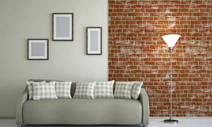 客厅装饰画与沙发灯具摄影高清图片