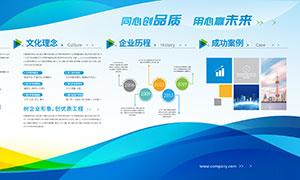 企业发展历程企业文化展板PSD素材