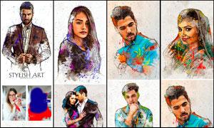 人像绘画和彩色油漆喷溅效果PS动作