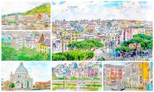 风景照片彩色素描绘画效果PS动作