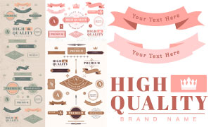 飘带等元素的标签设计创意矢量素材