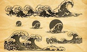 波涛汹涌的海浪和浪花PS笔刷