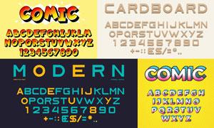 风格不一的英文字体设计矢量素材V01