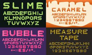 风格不一的英文字体设计矢量素材V02