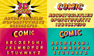 风格不一的英文字体设计矢量素材V03