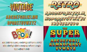 风格不一的英文字体设计矢量素材V04